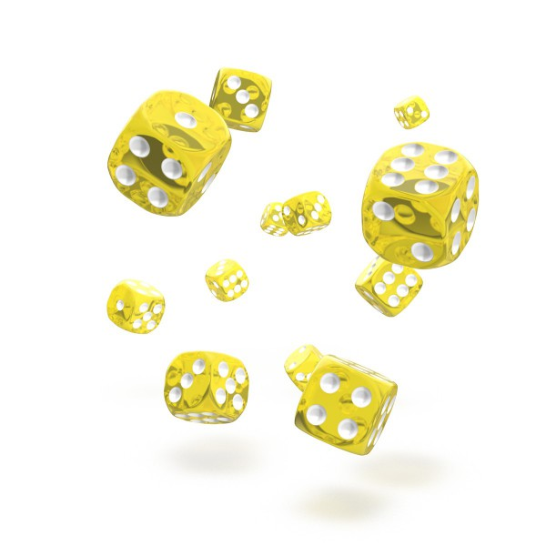 Oakie Doakie Dice - D6 Translucent Yellow 12mm Set of 36