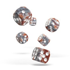 Oakie Doakie Dice - D6 Gemidice Silver-Rust 16mm Set of 12