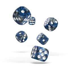 Oakie Doakie Dice - D6 Gemidice Liquid Steel 16mm Set of 12