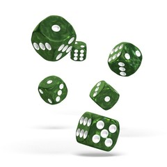 Oakie Doakie Dice - D6 Marble Green 16mm Set of 12