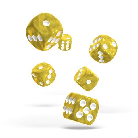 Oakie Doakie Dice - D6 Marble Yellow 16mm Set of 12 (ODD410006)