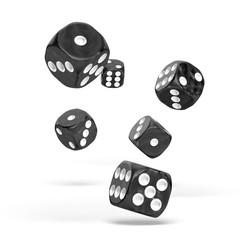 Oakie Doakie Dice - D6 Marble Black 16mm Set of 12