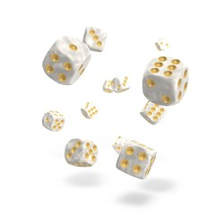 Oakie Doakie Dice - D6 Marble White 12mm Set of 36