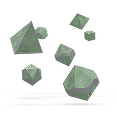 Oakie Doakie Dice - RPG-Set Metal Glow in the Dark Druid's Blaze