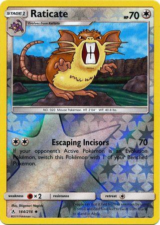 Raticate - 144/214 - Uncommon - Reverse Holo