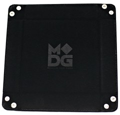 Metallic Dice Games Black Velvet Dice Tray with Leather Backing