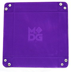 Metallic Dice Games Purple Velvet Dice Tray with Leather Backing