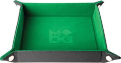 Metallic Dice Games Green Velvet Dice Tray with Leather Backing