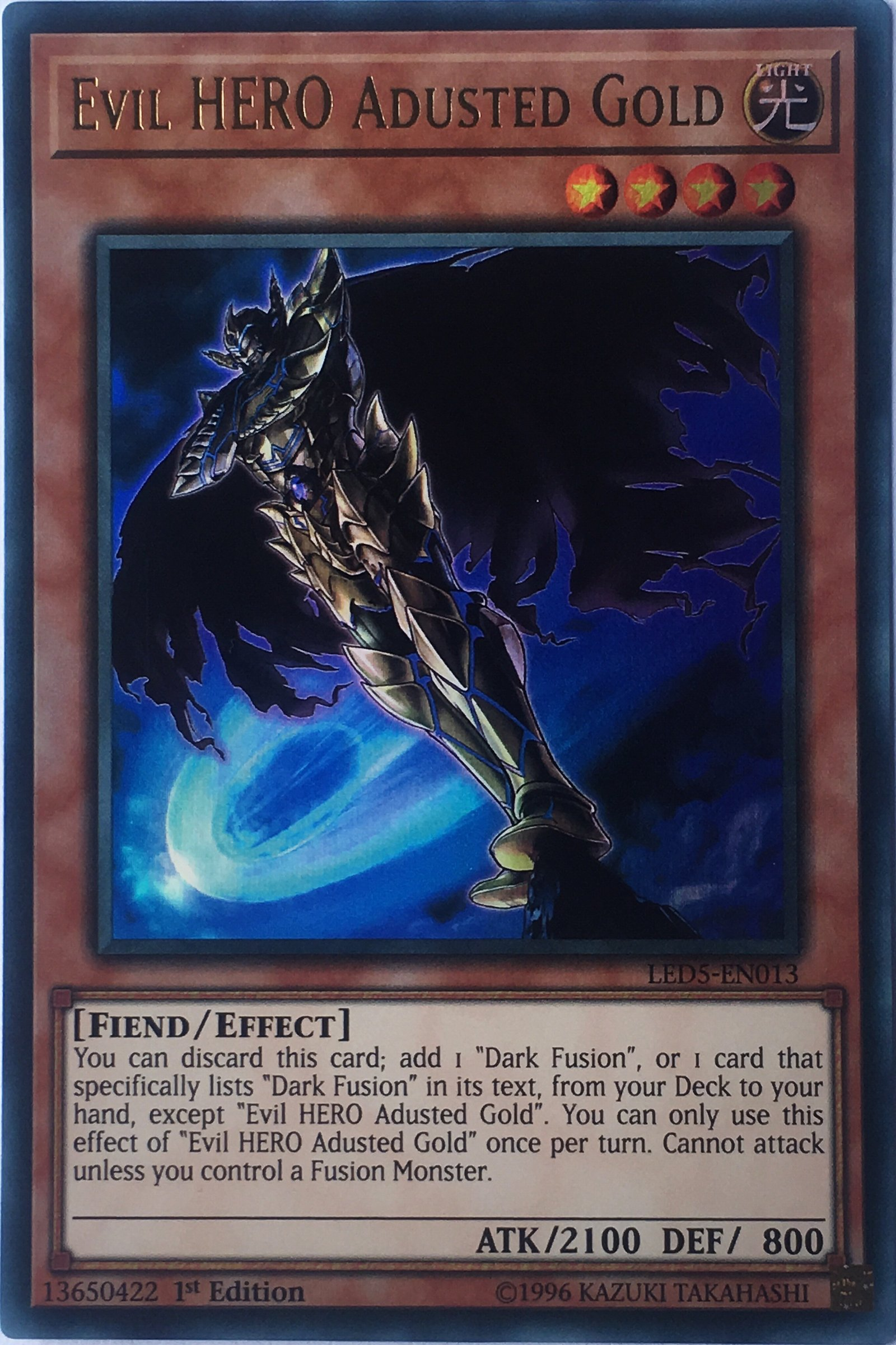 Evil HERO Adusted Gold - LED5-EN013 - Ultra Rare - 1st Edition