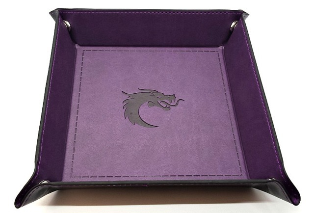 Old School RPG Dice Rolling Tray: Dragon forged - Square - Purple w/ Black Back