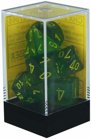 Borealis Maple Green and Yellow Polyhedral Dice Set - CHX27565