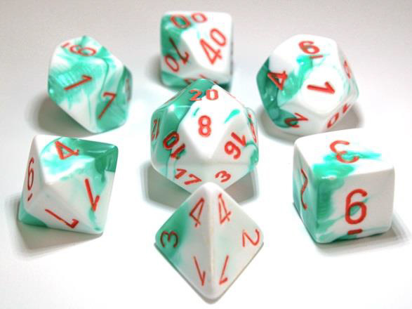 7-die Polyhedral Set - Gemini Mint Green-White with Orange - CHX30020