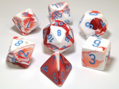 7-die Polyhedral Set - Gemini Red-White with Blue - CHX30022