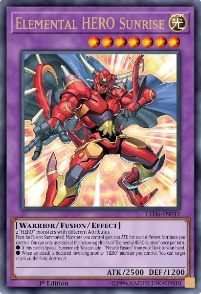 Elemental HERO Sunrise - LED6-EN012 - Ultra Rare - 1st Edition