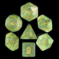 HD Polyhedral 7 Dice Set Green Iridecent Dice