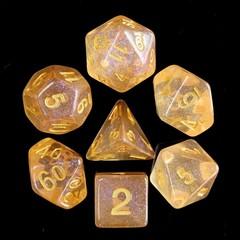 HD Polyhedral 7 Dice Set Orange Iridecent Dice