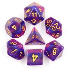 HD Polyhedral 7 Dice Set Lavender Galaxy