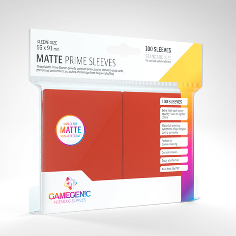 Gamegenic - Sleeves: Gamegenic Matte Prime Sleeves - Red (100)