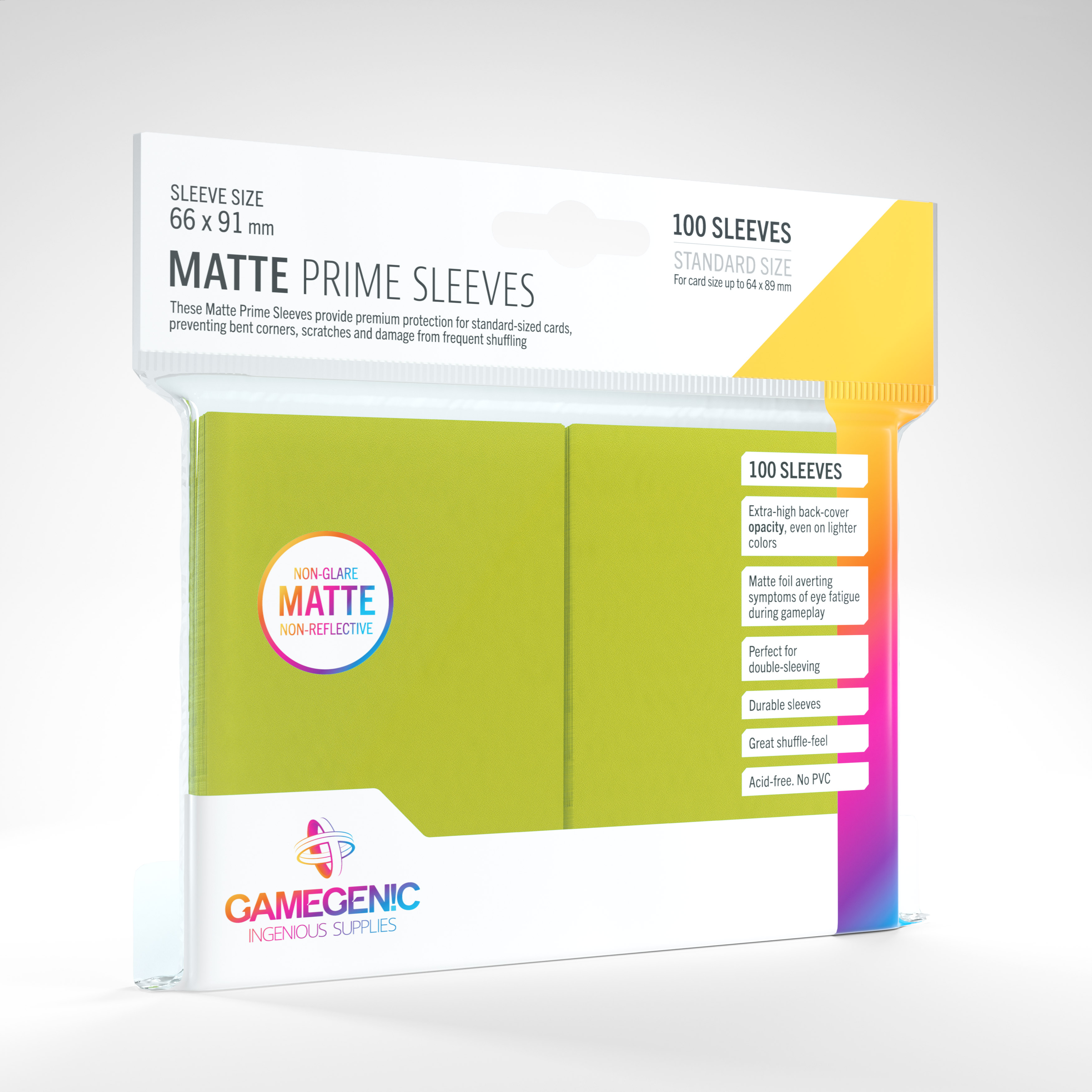 Gamegenic - Sleeves: Gamegenic Matte Prime Sleeves - Lime (100)