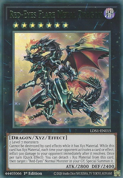Red-Eyes Flare Metal Dragon (Green) - LDS1-EN015 - Ultra Rare - 1st Edition