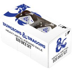 D&D Heavy Metal Icewind Dale D20 Dice Set - White/Blue
