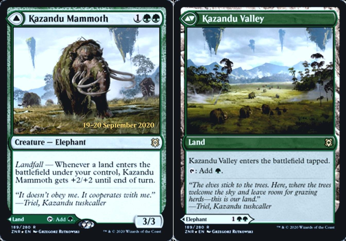 Kazandu Mammoth // Kazandu Valley - Foil - Prerelease Promo