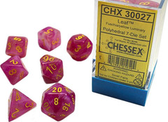 7 Heavy Dice Set - Lab Dice 2 - Fuschia Leaf Dice with Yellow  - CHX30027