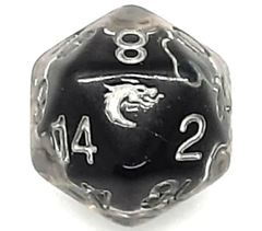 Old School D20 DnD RPG Die: Liquid Infused - Metallic Black