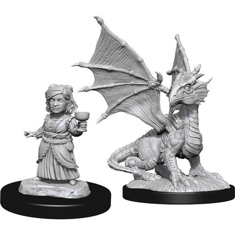 D&D Nolzur's Marvelous Miniatures – Silver Dragon Wyrmling & Female Halfling (Wave 13)