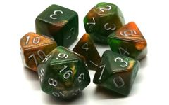 Old School 7 Piece DnD RPG Dice Set: Galaxy - Emerald & Orange
