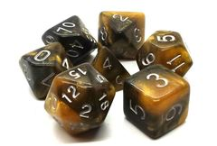 Old School 7 Piece DnD RPG Dice Set: Galaxy - Molten Gold