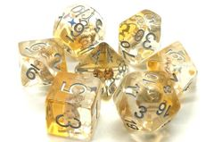 Old School 7 Piece DnD RPG Dice Set: Infused - Beach Party - Gold
