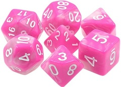 Poly 7 Dice Set: Panthers Purse (Pink/White Fusion)