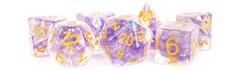 7-Die Set 16mm Resin Pearl: Purple with Gold Numbers