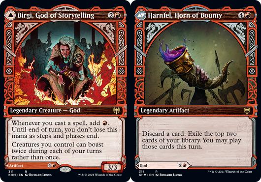 Birgi, God of Storytelling // Harnfel, Horn of Bounty - Foil - Showcase