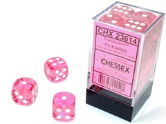 12 16mm Translucent Pink/White D6 Dice - CHX23614