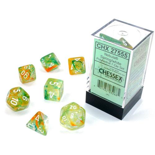 Chessex 27555 - Nebula - Polyhedral 7 Die Set - Spring/white