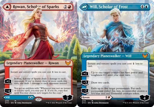 Rowan, Scholar of Sparks // Will, Scholar of Frost - Foil - Borderless