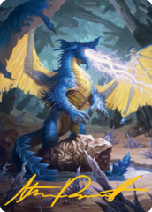 Blue Dragon Art Card -  Gold-Stamped Signature