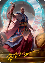 Teferi, Who Slows the Sunset Art Card - Gold-Stamped Signature