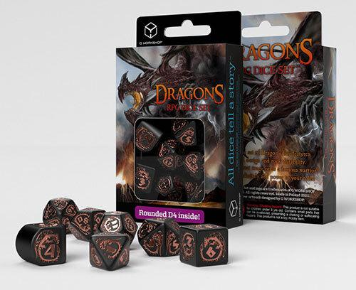 Dragons Modern Dice Set Black & Copper