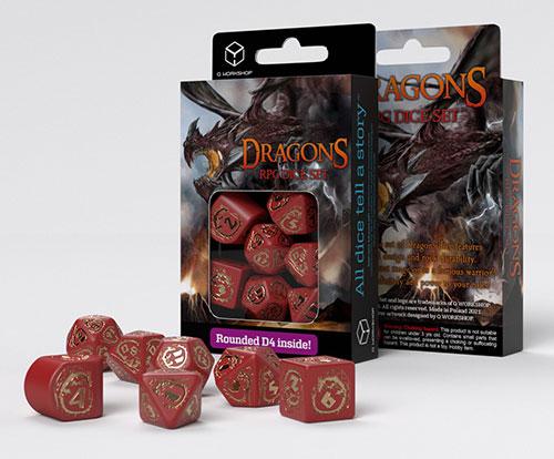 Dragons Modern Dice Set Red & Gold