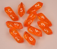Crystal d6 10 pc set - orange