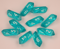 Crystal d6 10 pc set - aqua