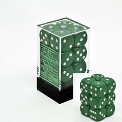12 Green w/white Opaque 16mm D6 Dice Block - CHX25605
