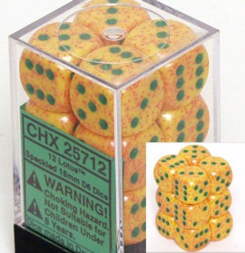 12 Lotus Speckled 16mm D6 Dice Block - CHX25712