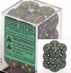 12 Golden Recon Speckled 16mm D6 Dice Block - CHX25735