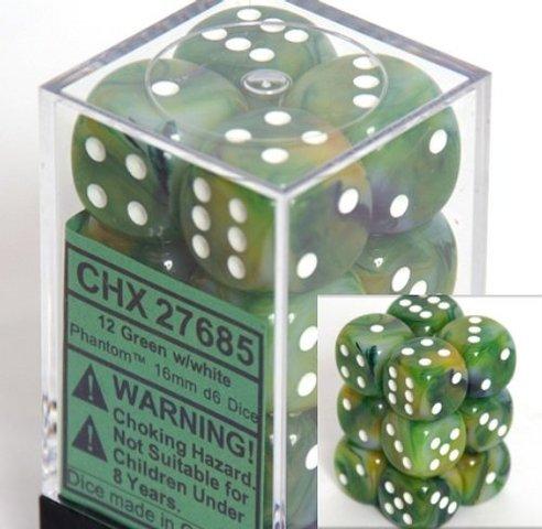 12 Green w/white Phantom 16mm D6 Dice Block - CHX27685