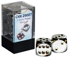 2 Silver Plated 16mm D6 Dice - CHX29007