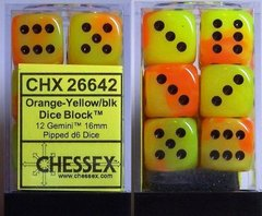 12 Orange-Yellow/blk Gemini 16mm D6 Dice Block - CHX26642